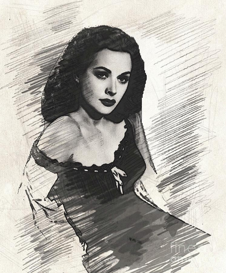 Hedy Lamarr, Vintage Actress Drawing