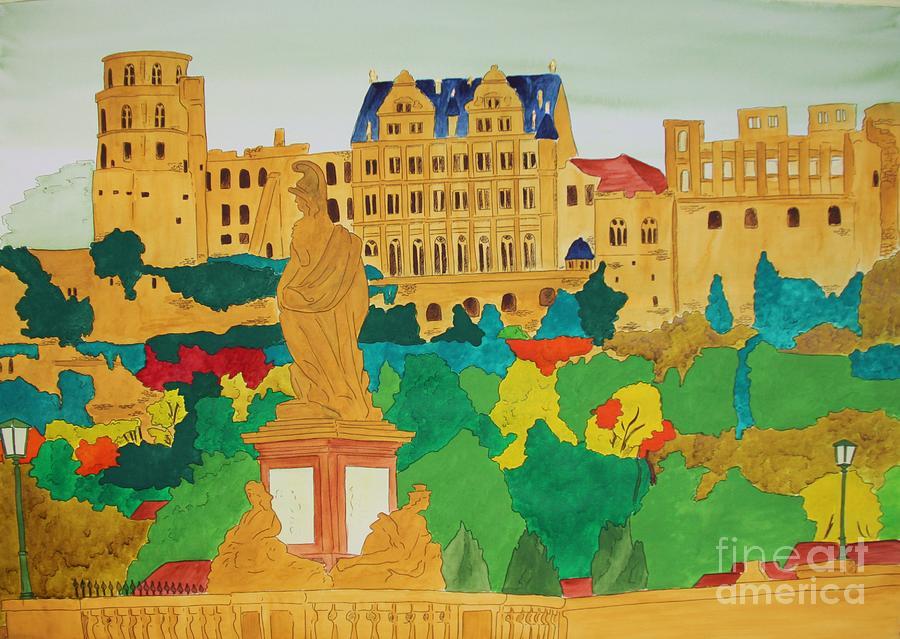 Heidelberg Painting - Heidelberg Castle And Minerva by Michaela Bautz