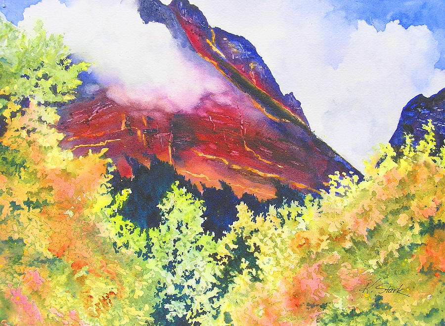 Mountain Painting - Heights of Glacier Park by Karen Stark