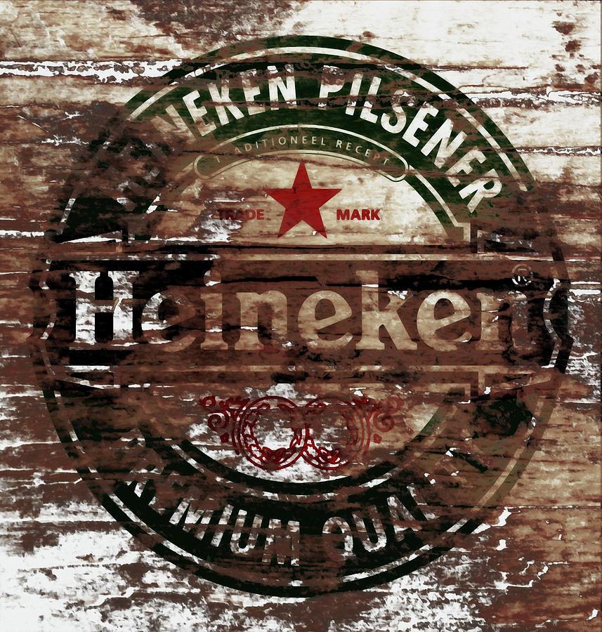 Heineken Mixed Media - Heineken Beer Wood Sign 1a by Brian Reaves