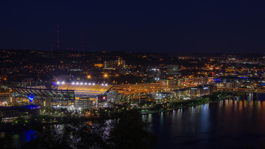 K-3 Photograph - Heinz Field At Night From Mt Washington by Lori Coleman