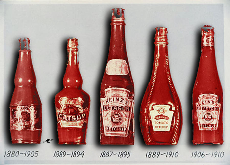heinz tomato ketchup vintage evolution to 1910 painting by tony rubino