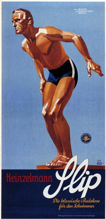 Flip Mixed Media - Heinzelmann Flip - Classic Badehose For Swimwear - Vintage Advertising Poster by Studio Grafiikka