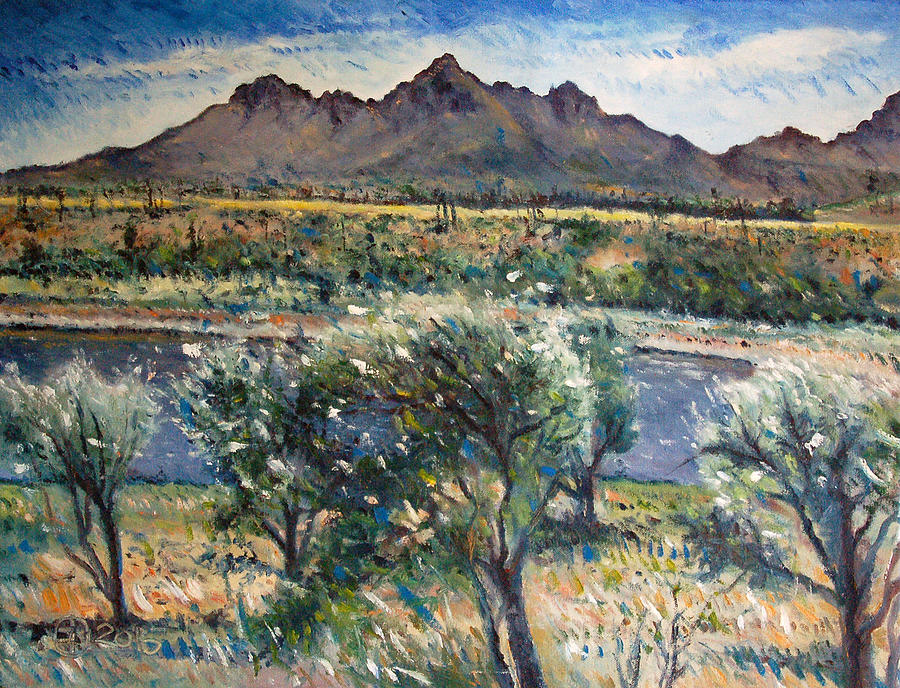 Oil On Canvas Painting - Helderberg Clearmountain Cape Town South Africa by Enver Larney