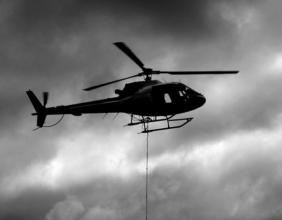 Helicopter Photograph - Helicopter In Sling Operations by Wyatt Rivard