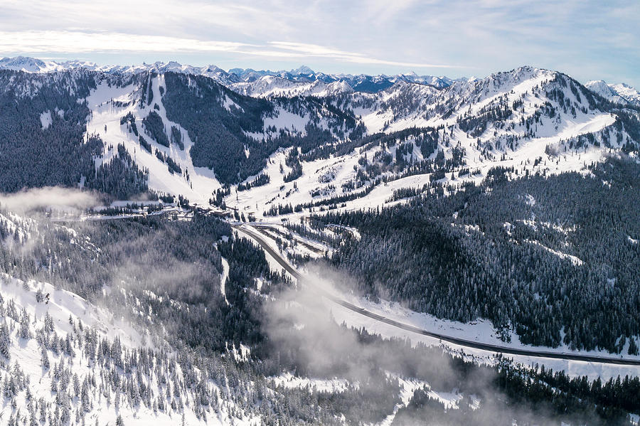 Helicopter View Of Winter Sports Resort In Pacific Northwest Photograph