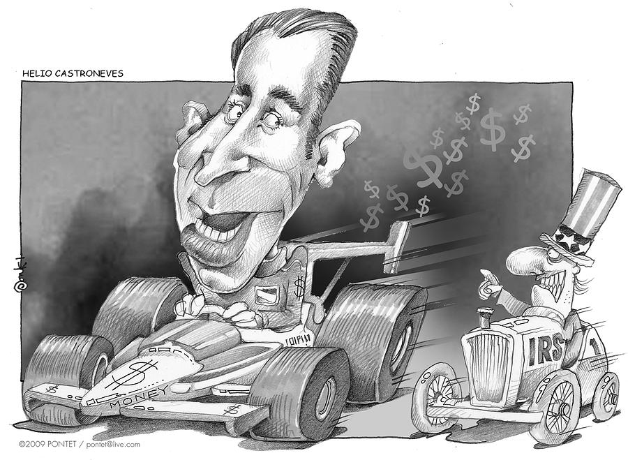 Famous People Drawing - Helio Castroneves And Irs by Caricatures By PONTET