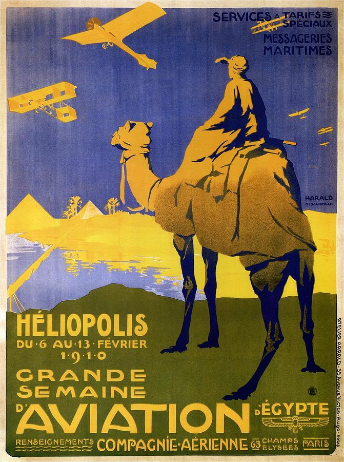 Heliopolis Mixed Media - Heliopolis, Egypt - Grande Semaine Daviation - Retro Travel Poster - Vintage Poster by Studio Grafiikka