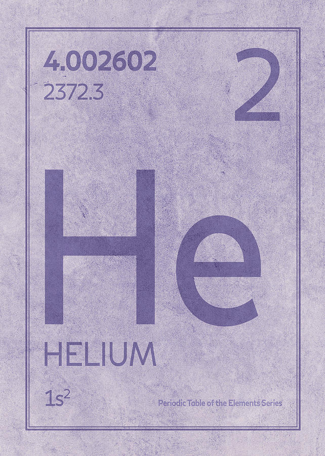 Helium Element Symbol Periodic Table Series 002 Mixed Media By