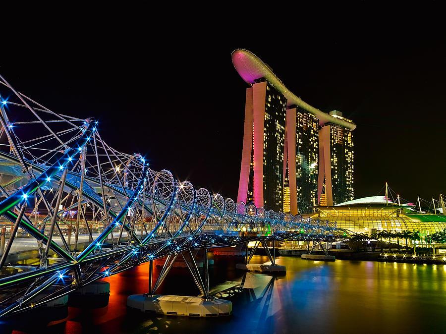 Helix Bridge At Marina Bay Sands Photograph