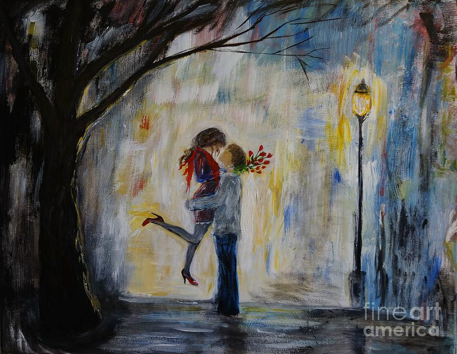 Couple Painting Painting - Hello Honey by Leslie Allen