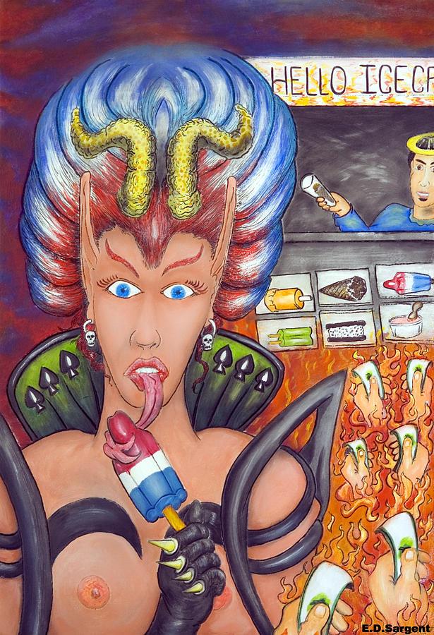 Devilish Painting - Hello Ice Cream by Eddie Sargent