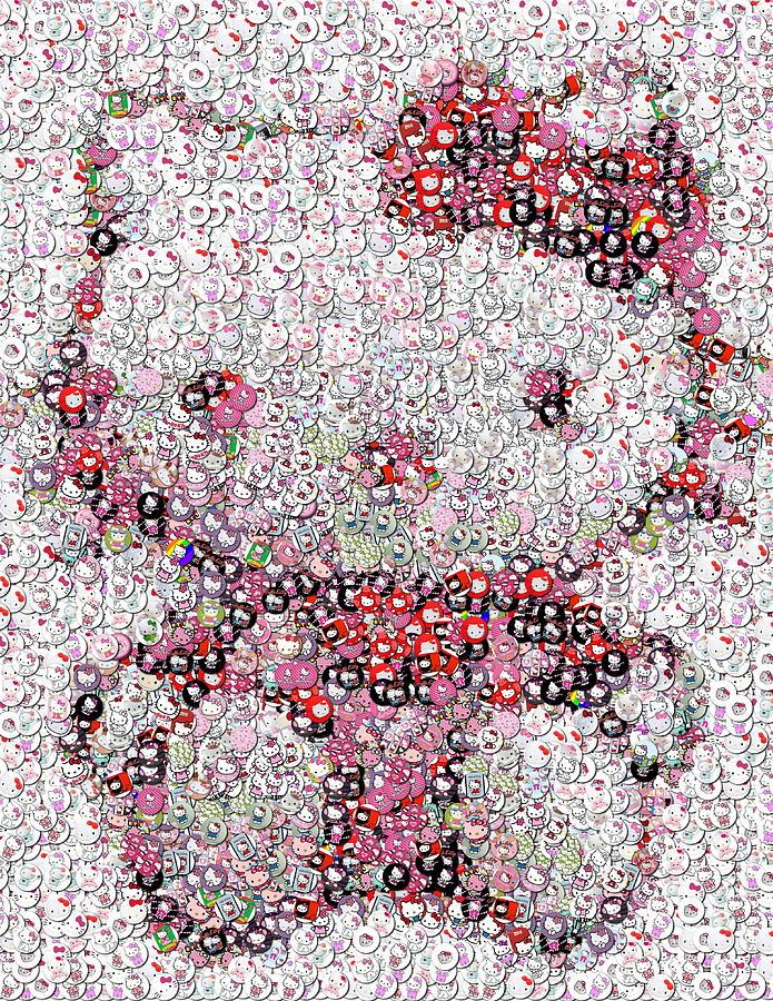 Hello Kitty Photograph - Hello Kitty Button Mosaic by Paul Van Scott