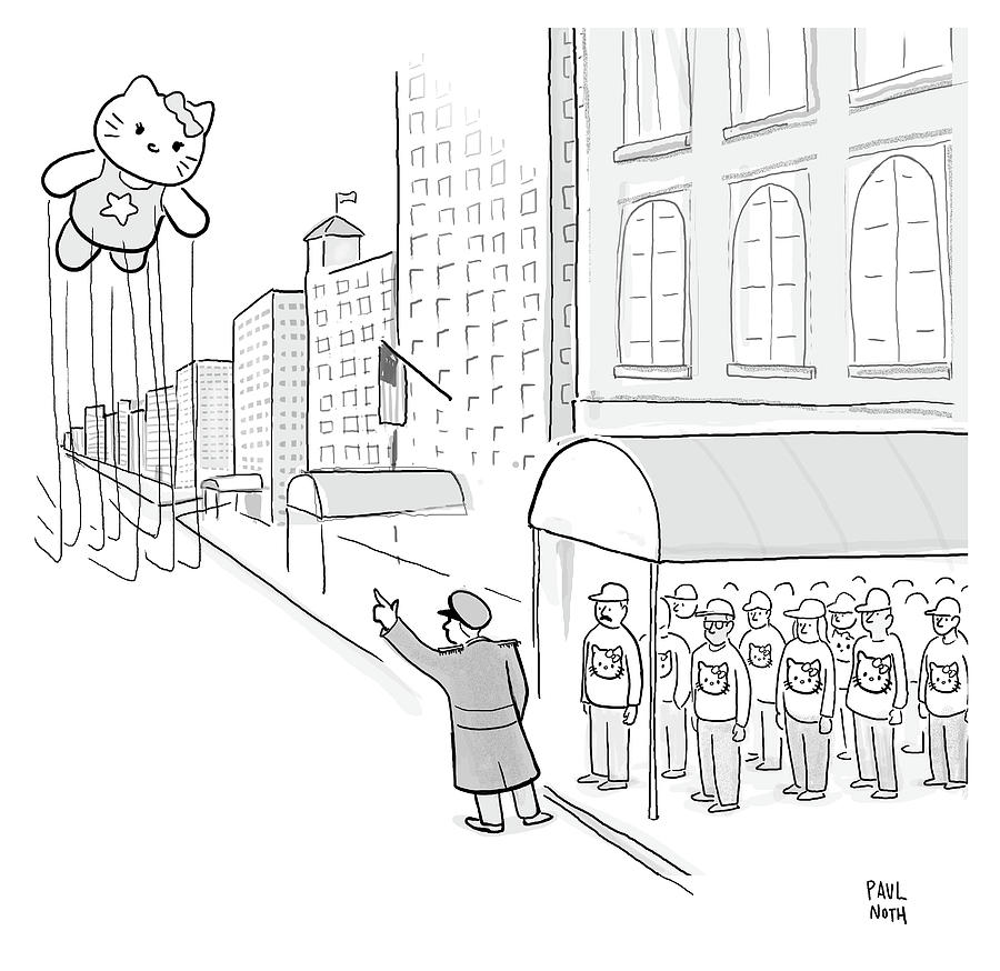 Hailing Kitty Thanksgiving Parade Balloon Drawing by Paul Noth