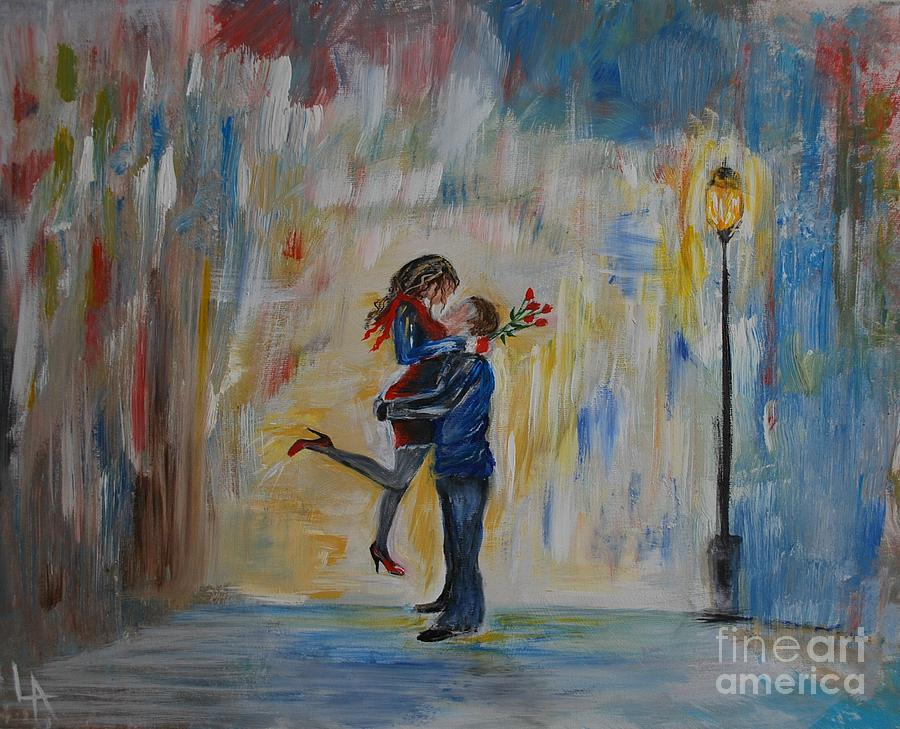 Couple Painting - Hello My Honey by Leslie Allen