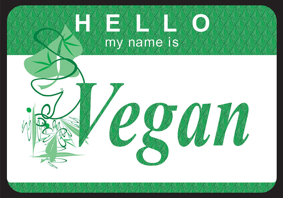 Name Tag Digital Art - Hello My Name Is Vegan by Donna Zoll