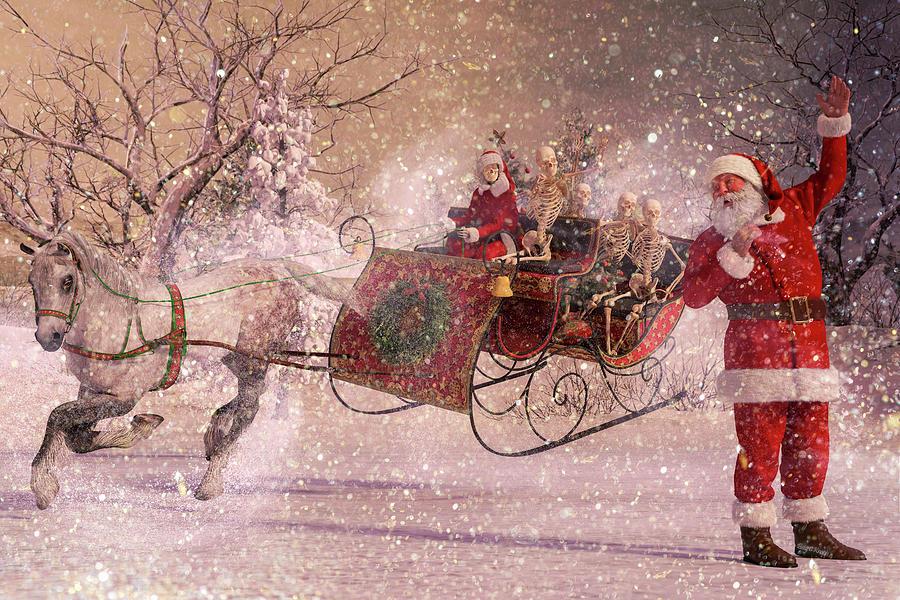 Christmas Digital Art - Hello Santa by Betsy Knapp