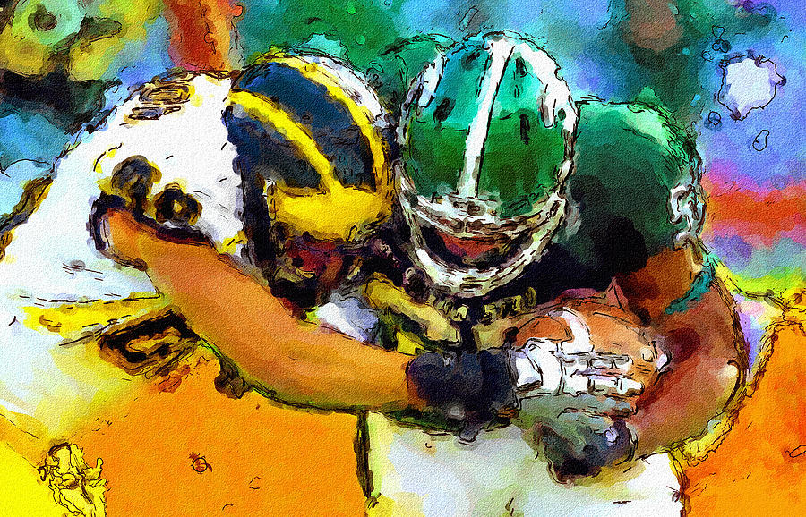 University Of Michigan Painting - Helmet To Helmet by John Farr