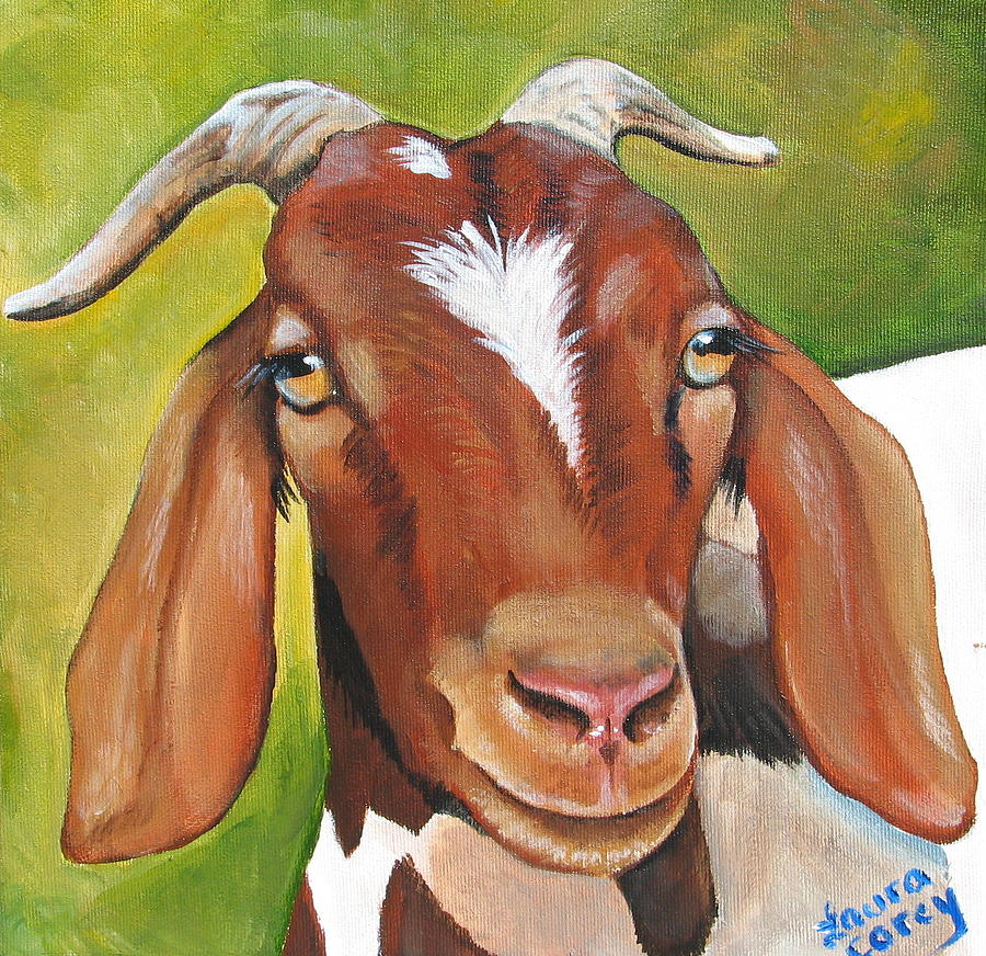 Goat Painting - Heloise by Laura Carey