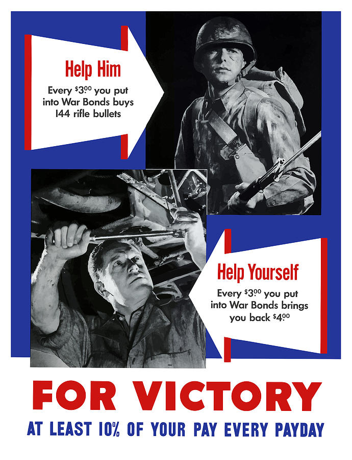 World War Ii Painting - Help Him Help Yourself  by War Is Hell Store