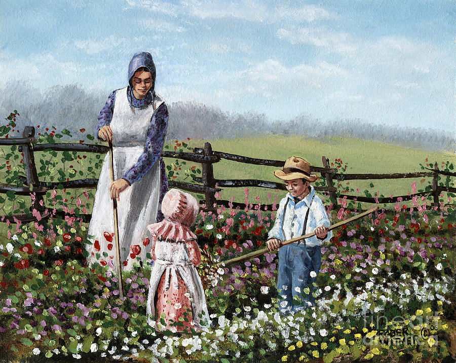Garden Painting - Helping hands by Roger Witmer