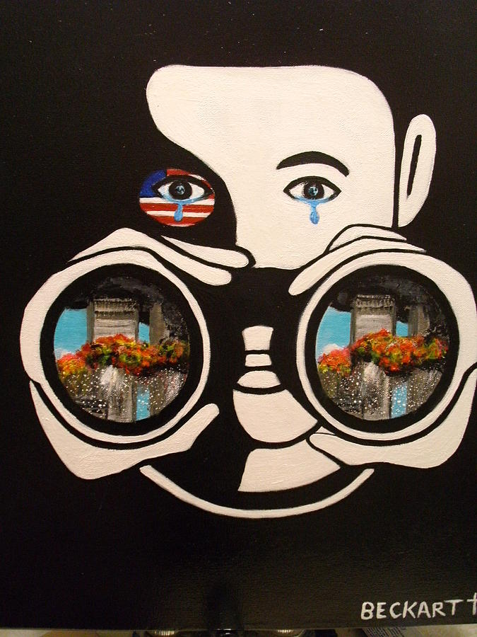 New York City Painting - Helpless Spectator by Becky Jenney