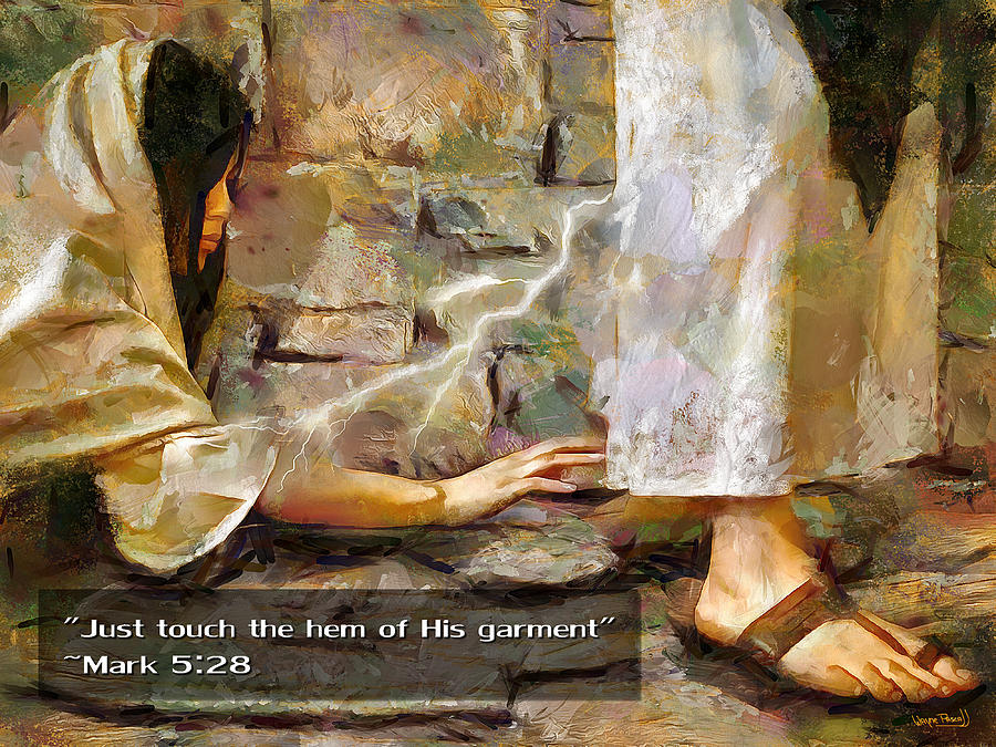 Jesus Christ Painting - Hem Of His Garment And Text by Wayne Pascall