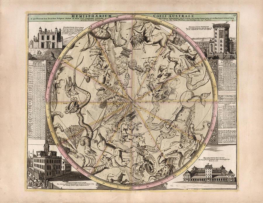 Hemisphaerium Coeli Australe - Celestial Map - Constellations Map - Illustrated Map Of The Sky Drawing