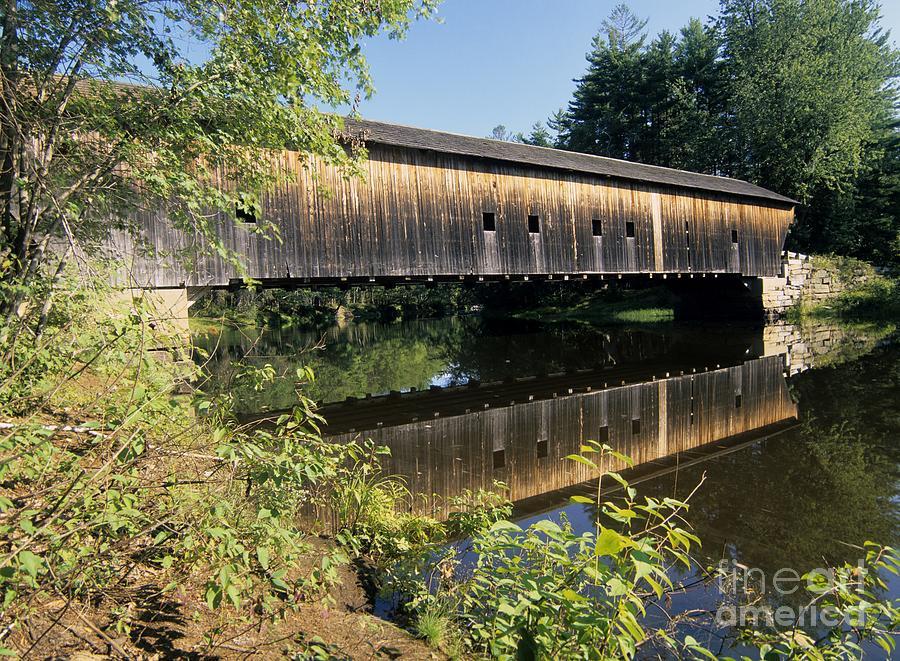 Covered Bridge Photograph - Hemlock Covered Bridge - Fryeburg Maine Usa. by Erin Paul Donovan