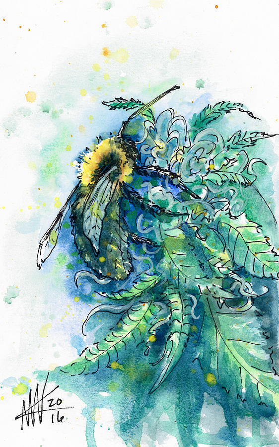 Hemp Flower Honey Bee by Ashley Kujan