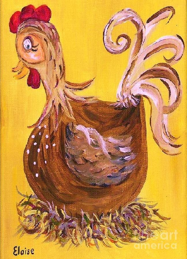 Chicken Painting - Hen Nesting by Eloise Schneider