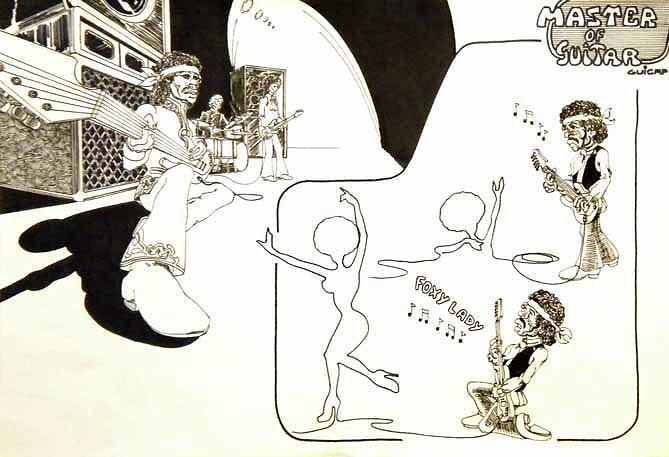 Jimi Hendrix Drawing - Hendrix Master Of Guitar by Guicap Studio