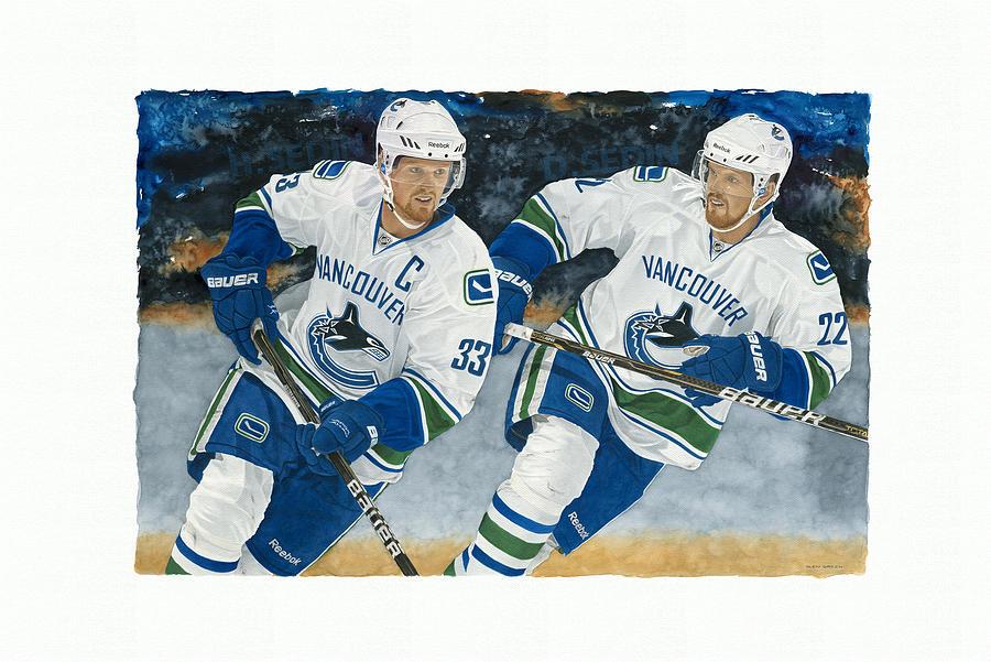Nhl Painting - Henrik And Daniel Sedin by Glen Green