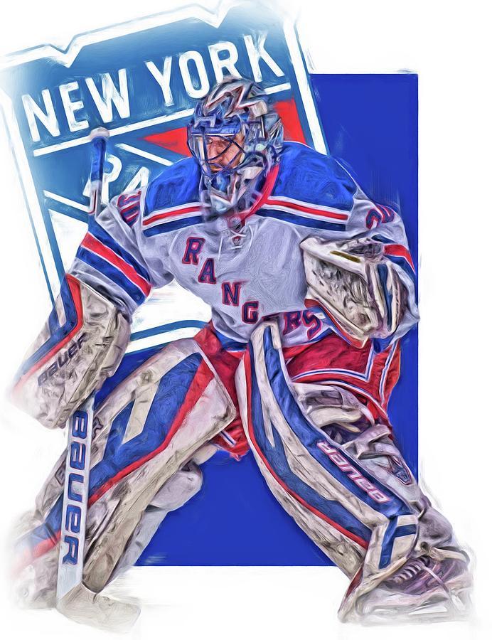 Henrik Lundqvist Mixed Media - Henrik Lundqvist New York Rangers Oil Art by Joe Hamilton