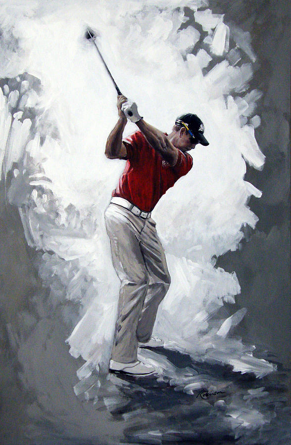 Henrik Stenson 2009 Painting by Mark Robinson