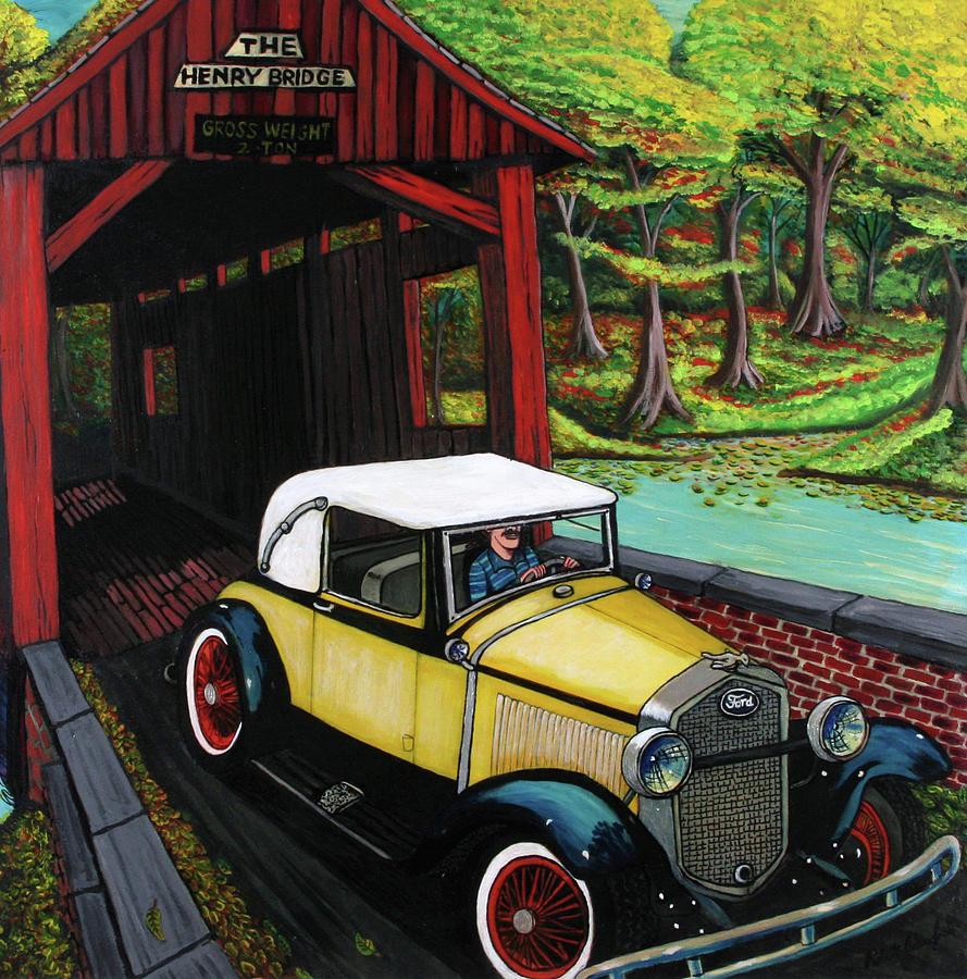 Covered Bridge Painting - Henry Bridge by Bob Crawford