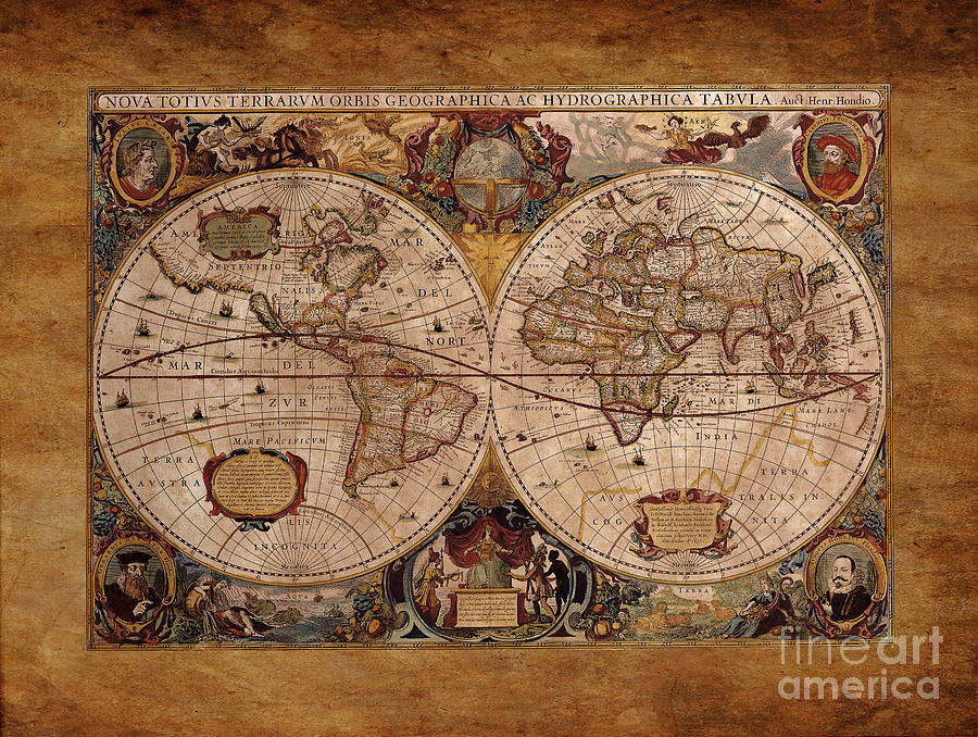 Map Drawing - Henry Hondius Seventeenth Century World Map by Skye Ryan-Evans