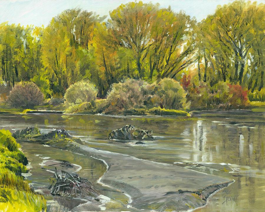 Landscape Painting - Henrys Fork Pleinaire by Steve Spencer