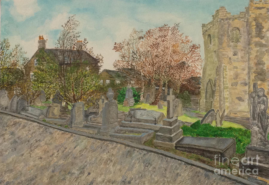 Japanese Artist Painting - Heptonstall Christian Church in West Yorkshire by Japanese Artist by Sawako Utsumi