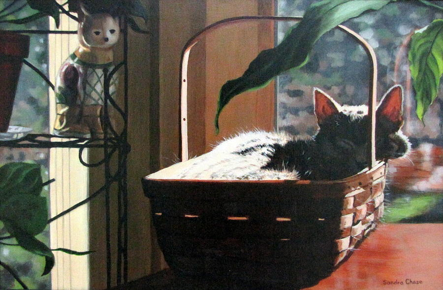 Cat Painting - Her Basket by Sandra Chase
