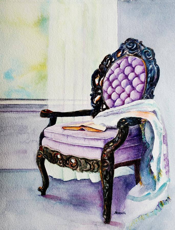 Chair Painting - Her Chair by Kathy Nesseth