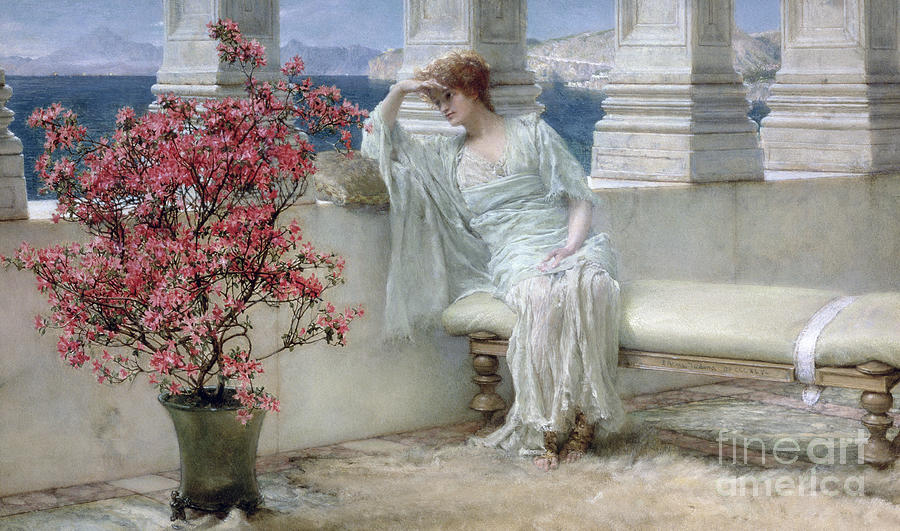 Her Painting - Her Eyes Are With Her Thoughts And They Are Far Away by Sir Lawrence Alma-Tadema