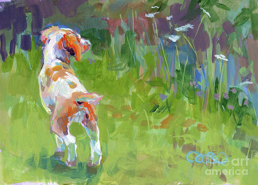 Brittany Spaniel Painting - Her First Point by Kimberly Santini