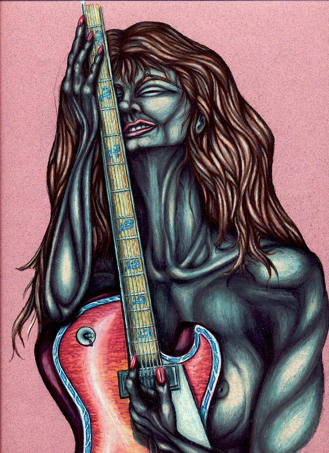 Guitar Drawing - Her Great Loss by Karen Musick