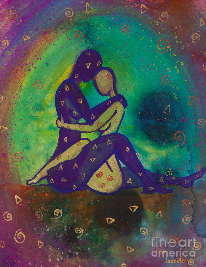 Lgbt Painting - Her Loves Embrace Divine Love Series No. 1006 by Ilisa Millermoon