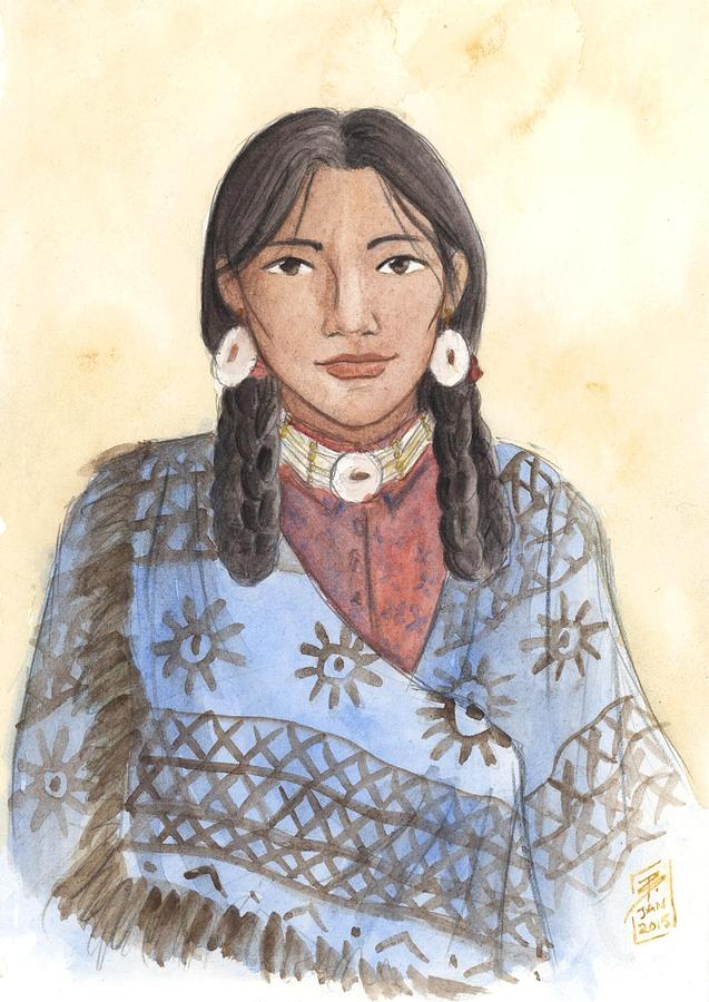 Native American Painting - Her Mothers Blanket by Brandy Woods