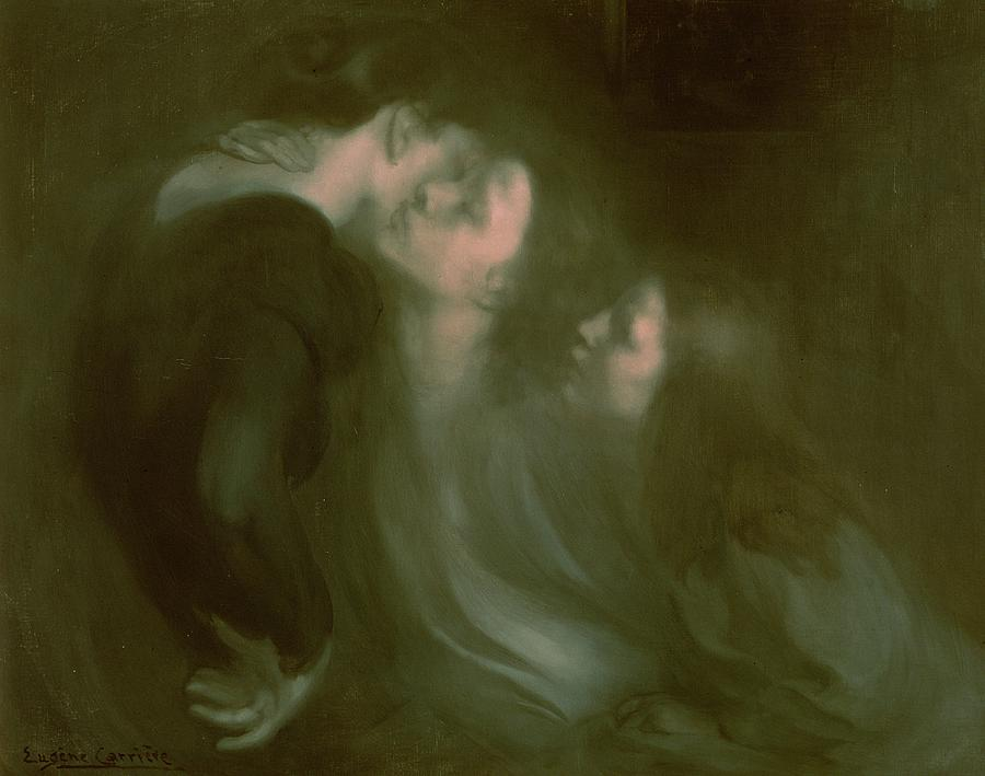 Her Painting - Her Mothers Kiss by Eugene Carriere
