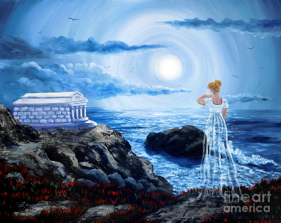 Moon Painting - Her Tomb By The Sounding Sea by Laura Iverson