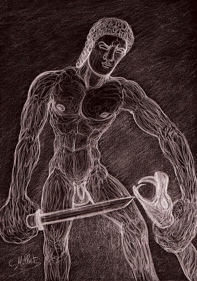 Heracles Drawing - Heracles Killing The Snake by Cindy MILLET