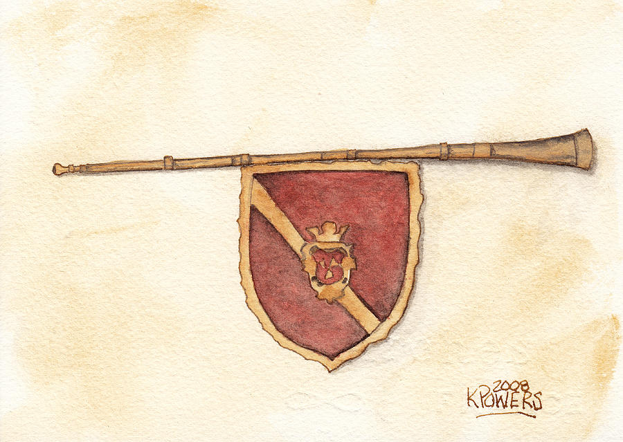 Heraldry Painting - Heraldry Trumpet by Ken Powers